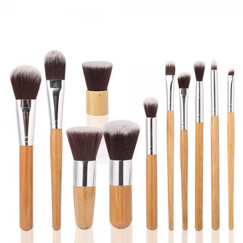 11 Pcs Fiber Nylon Bamboo Handle Makeup Brush Set + Free Shipping