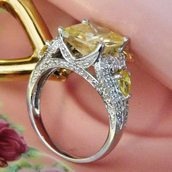 Vintage Yellow Cubic Zirconia CZ Ring Princess Cut Canary Yellow Fancy Statement Ring 925 Sterling Silver Size 8 Eight Fashion Jewelry Mom