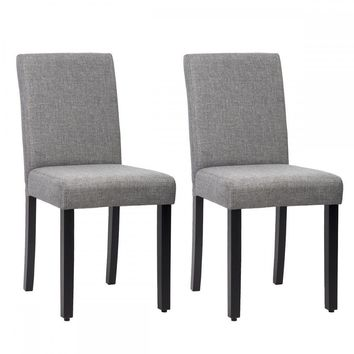 Set of 2 Grey Elegant Design Modern Fabric Upholstered Dining Chairs B21