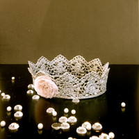 Hand painted silver infant crown, newborn photo prop, flower embellished crown