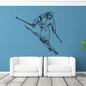 ik1126 Wall Decal Sticker skier skiing sport mountain livingroom bedroom