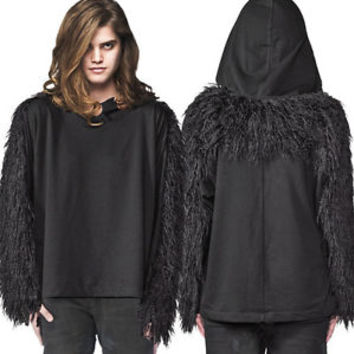 Widow Lip Service Monster Faux Fur Shag Mens Long Sleeve Sweater Black Goth Punk | eBay