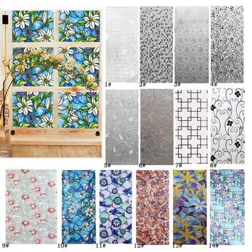 100cm*45cm Orchid Glass Window Stained Stickers Privacy Window Film Home Decor
