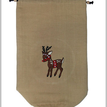 Reindeer Embroidery on a Drawstring Bag (Free Shipping)