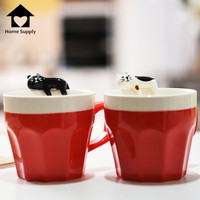 Hot 3D 300ML Zakka Black and White Cat Lover Coffee Mug Hand-painted Coffee Tea Mug Cup Drink Water Heat Mugs Taza Cafe K0053
