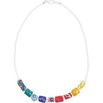 Marble Recycled Glass Bead Necklace Rainbow