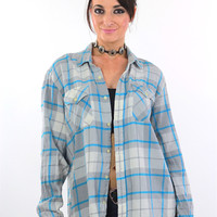 Blue Flannel shirt 90s Grunge Plaid Button Up Oversized