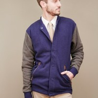 mens varsity jacket in navy with grey sleeves by SLVDR clothing | shopcuffs.com