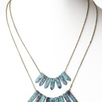 Turquoise-Rusted-Fringe-Layered-Necklace/Earring-Set