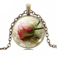 Vintage Bronze Punk Necklace Romantic ROSE Art Picture Collares Glass Cabochon Necklace Valentine's Day Sterling Silver Jewelry