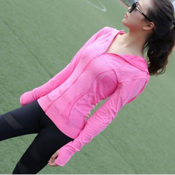 """lululemon""Running fitness yoga quick-drying moisture absorption perspiration blazer Pink"