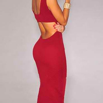Red Halter Cut-Out Bodycon Midi Dress