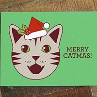 "Funny Cat Christmas Card ""Merry Catmas"" - Funny Christmas Card, Cat Lover Christmas, Cat Holiday Card, Cat pun card"