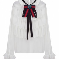 White Jeweled Bow Tie Front Layered Ruffle Sheer Blouse - Choies.com
