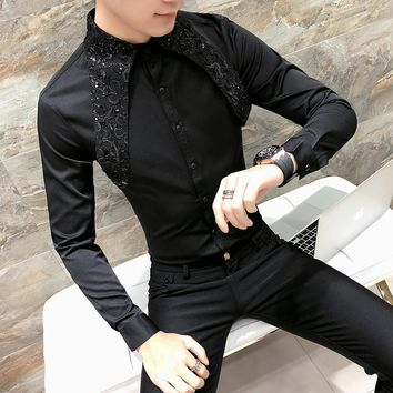 High Quality Korean Tuxedo Shirt Men Fashion 2018 Spring Summer Sexy Lace Men Shirt Long Sleeve Night Club Singer Costume Shirts