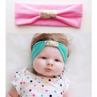 Jersey Sequin Baby Girl Headband - gold - black - purple - gray - baby girl headband -pink - purple - white - jersey knit - bow - turban :SQ
