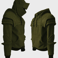 Khaki/Brown Duncan Armored Knight Hoodie (100% Handmade) Made To Order