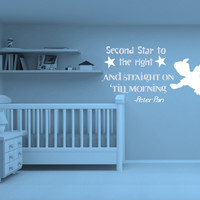 Second Star To The Right And Straight On Till Morning Peter Pan Wendy Tinkerbell Vinyl Wall Decal