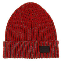 Moschino CAP01275/1 Red Wool Blend Chunky Ribbed Beanie Hat