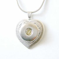 Noosa Style Interchangeable Heart Necklace for Popper Chunk Snap Charms