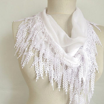 Scarf - Fringed Guipure Scarf -Fabric Knitted Lace Scarf - Shawl Scarf - Cowl Scarf - Long Scarf -Valentines day gift