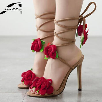 Large Size Women's Sandals 2017European Summer Rose Flower Cross Tied high heels Sandals Women Open Toe Shoes For Ladies Apricot