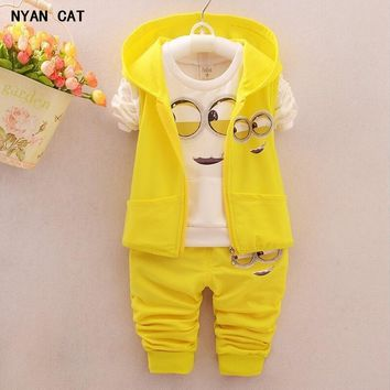 EMS DHL Free Shipping toddler Little Boys 3pc Minions Cartoon Casual wear Summer Outfit Children Clothing 7 Colors 80-90-100-110