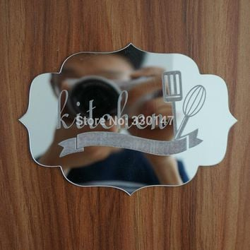 New Kitchen Indicating Signs Entrance Home Logo 3D Acrylic Mirrored Door Plate Mirror Wall Stickers Home Decor