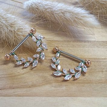 Crystal Leaf Rose Gold Nipple Shield Barbell Jewelry Barbell