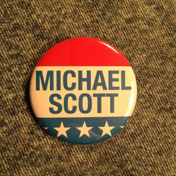 MICHAEL SCOTT For President Pinback Button Pin Badge X1 2.25 Inch Handmade New Election The Office Steve Carell Movement Pinback Buttons