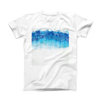 The Faded Blue Watercolor Strokes ink-Fuzed Front Spot Graphic Unisex Soft-Fitted Tee Shirt