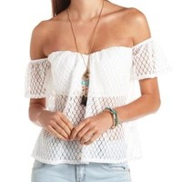 Sheer Lace Off-the-Shoulder Top by Charlotte Russe - White