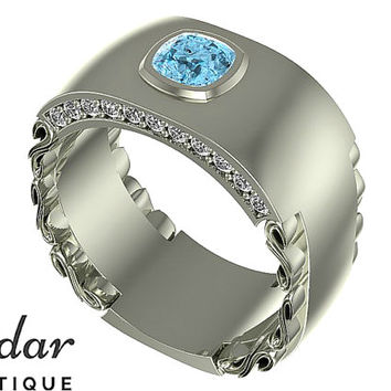 Mens Wedding Band,Unique Men's Ring,Aquamarine Wedding Band For Men's,Cushion Cut Men's Ring For Wedding,Vidar Boutique Rings,Diamond Ring