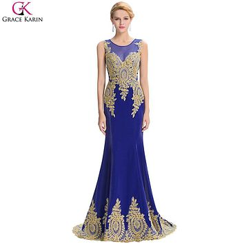 Grace Karin Mermaid Evening Dresses Long 2017 Gold Lace Appliques See Through Dubai Arabic Evening Gowns Party Formal Dress