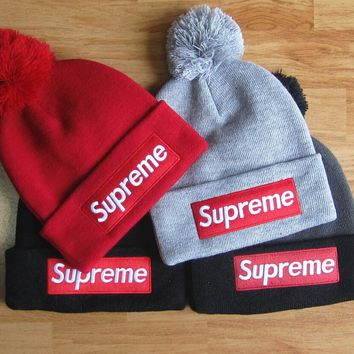 33cc9f5aae3 Supreme Woman Men Fashion Beanies Winter Knit Hat Cap