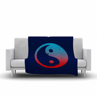 "Federic Levy-Hadida ""Ying Yang Surfers"" Red Blue Fleece Throw Blanket"