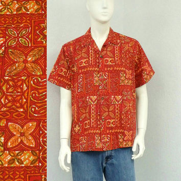 Vintage 50s Made in Hawaii Red Hawaiian Shirt, Aloha Shirt, Tiki Shirt, Tribal Shirt, Rockabilly Shirt, Summer Shirt,  Resort Wear, Size L