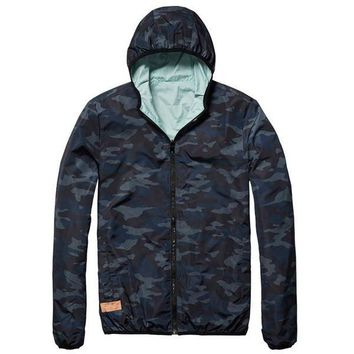 Reversible Camo and Color Block Summer Jacket