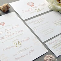 Sea Shell Wedding Invitations, Beach Wedding Invitation Suite, Sand and Coral Wedding Pocket Invite Set, Destination Wedding Invites Classic