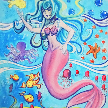 Pink Tailfin Mermaid Watercolor Painting by PixelPastel on Etsy