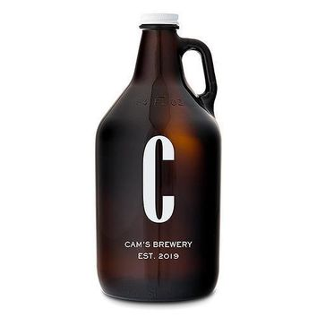 Personalized Amber Glass Beer Growler - Single Monogram Print (Pack of 1)