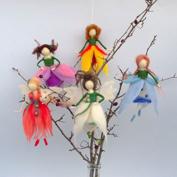 Felt Fairy Tulip Yellow red colors Needle felt Waldorf Baby shower Hostess gift Spring Easter ornament Dolls girls Felt mobile Room decor