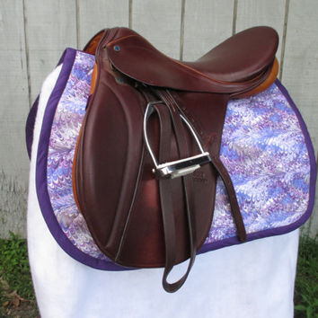 English All-Purpose Saddle Pad:  Purple and Grey 'Oil Slick' Print with Purple Trim