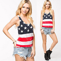 Brand new womens Stars Stripes USA Summer Vest shirts casual American flag print Tank Tops femme Plus size
