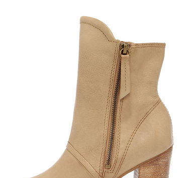 Matisse Leon Natural Leather Mid-Calf Peep Toe Booties