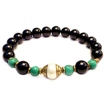 Soothing, turquoise, onyx and Tibetan capped pearl mala bracelet