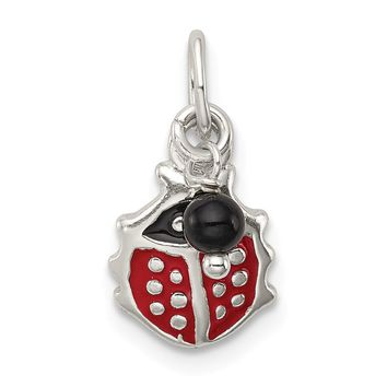 925 Sterling Silver Red Enameled Ladybug with Bead Charm and Pendant