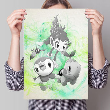 Starters Pokemon  Anime Manga Watercolor Poster Print Art Wall Decor Gift  no328