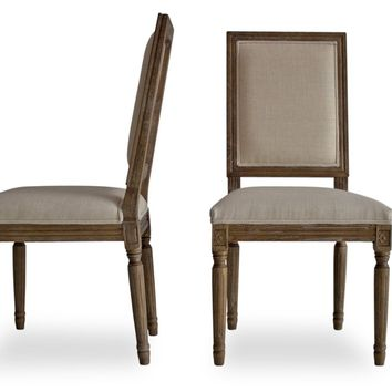Olivia French Country Dining Chairs Beige Linen (Set Of 2)