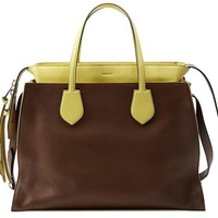 DCCKUG3 Gucci Brown and Yellow Ramble Leather Layered Tote Shoulder Bag